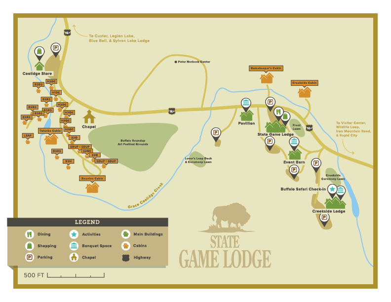 Map of the State Game Lodge
