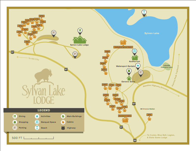 Map of Sylvan Lake Lodging