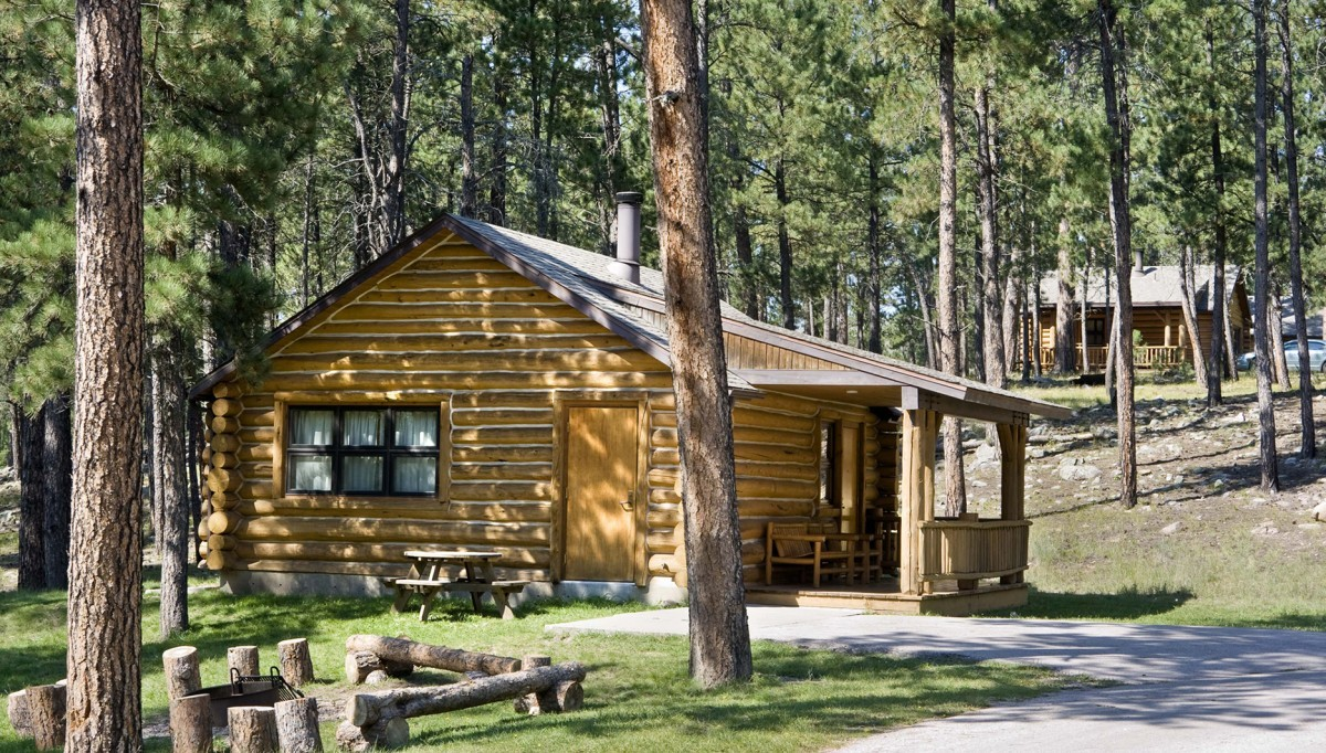 Rustic Log Cabin at Blue Bell Lodge.
