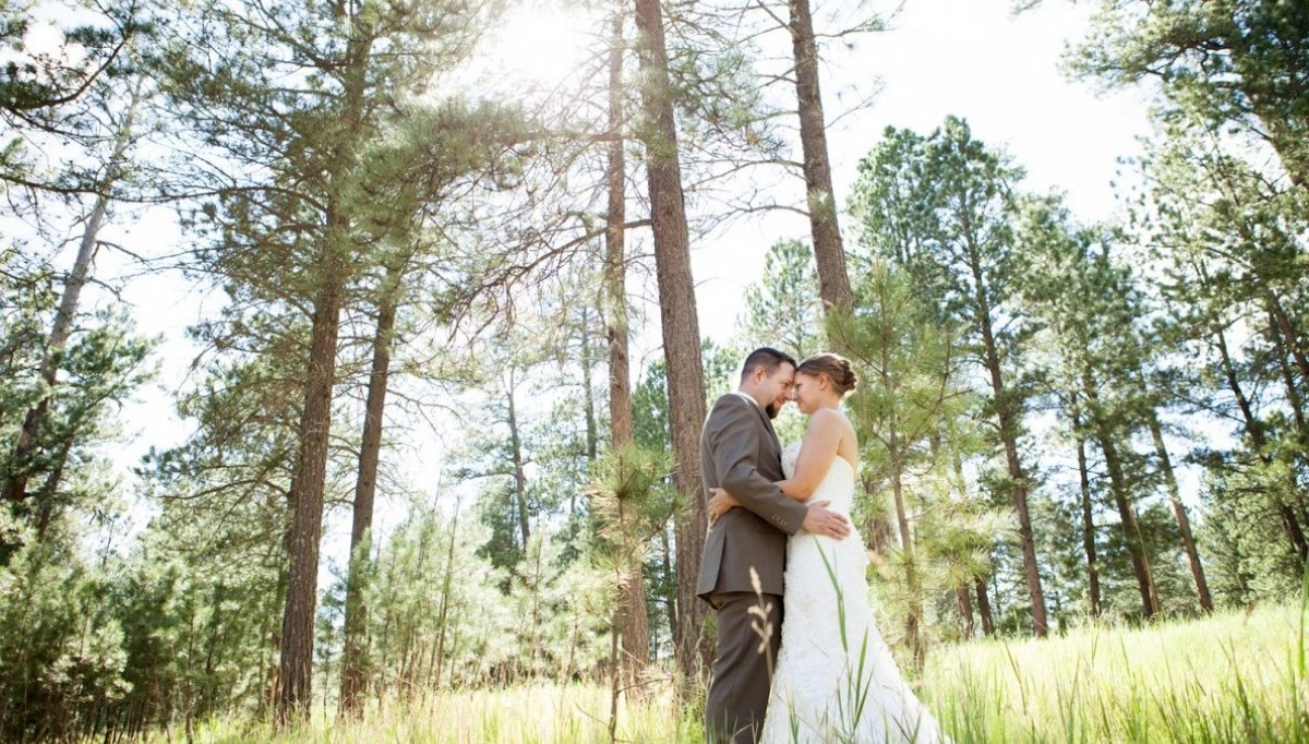 Bride and Groom outside in the trees