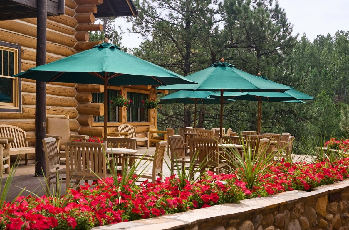 Have a side of scenery with your meal on the Blue Bell Lodge's patio.