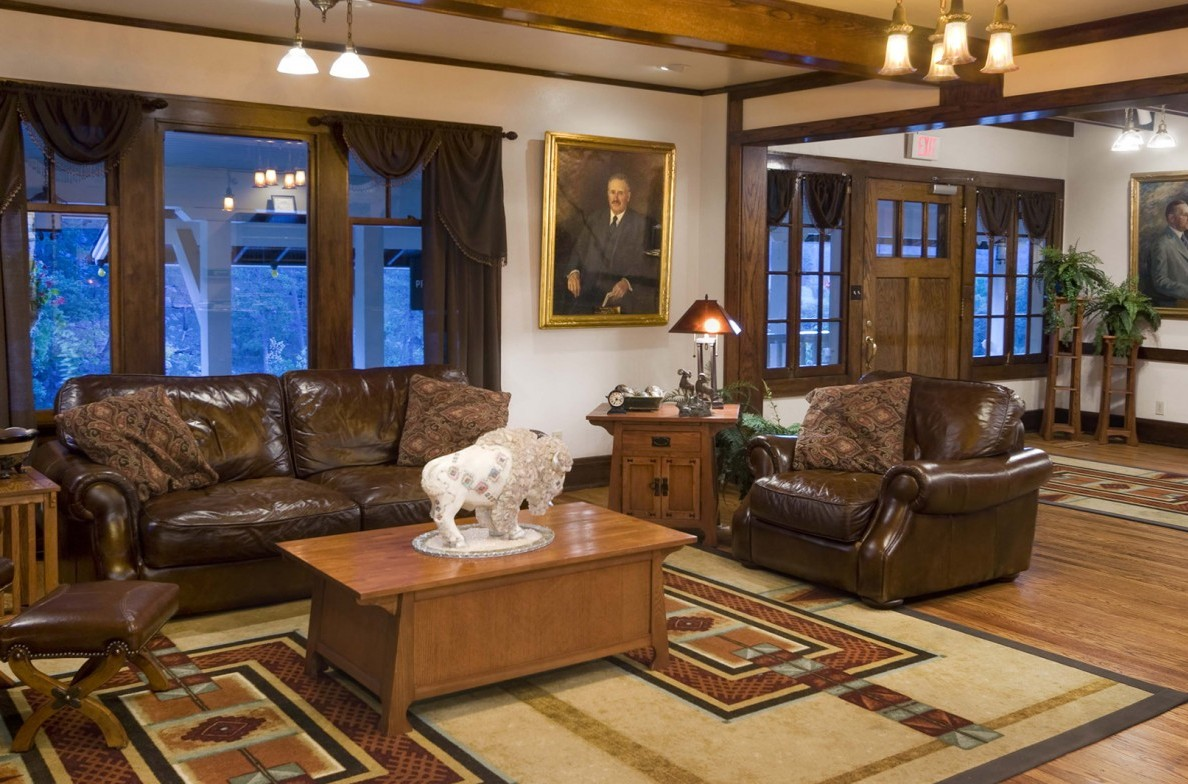 Relax in comfort in the State Game Lodge's lobby.