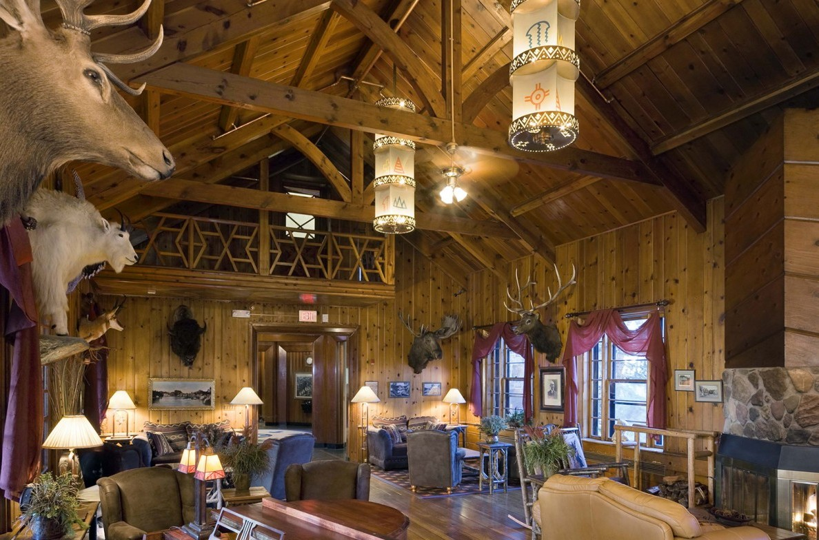 The rustic exterior of the Sylvan Lake Lodge.