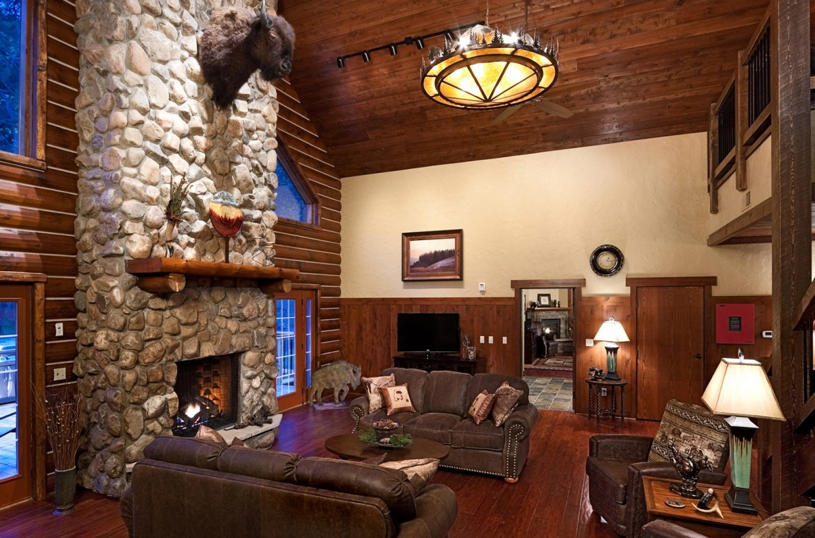 Two-story stone fireplace in the Great Room.