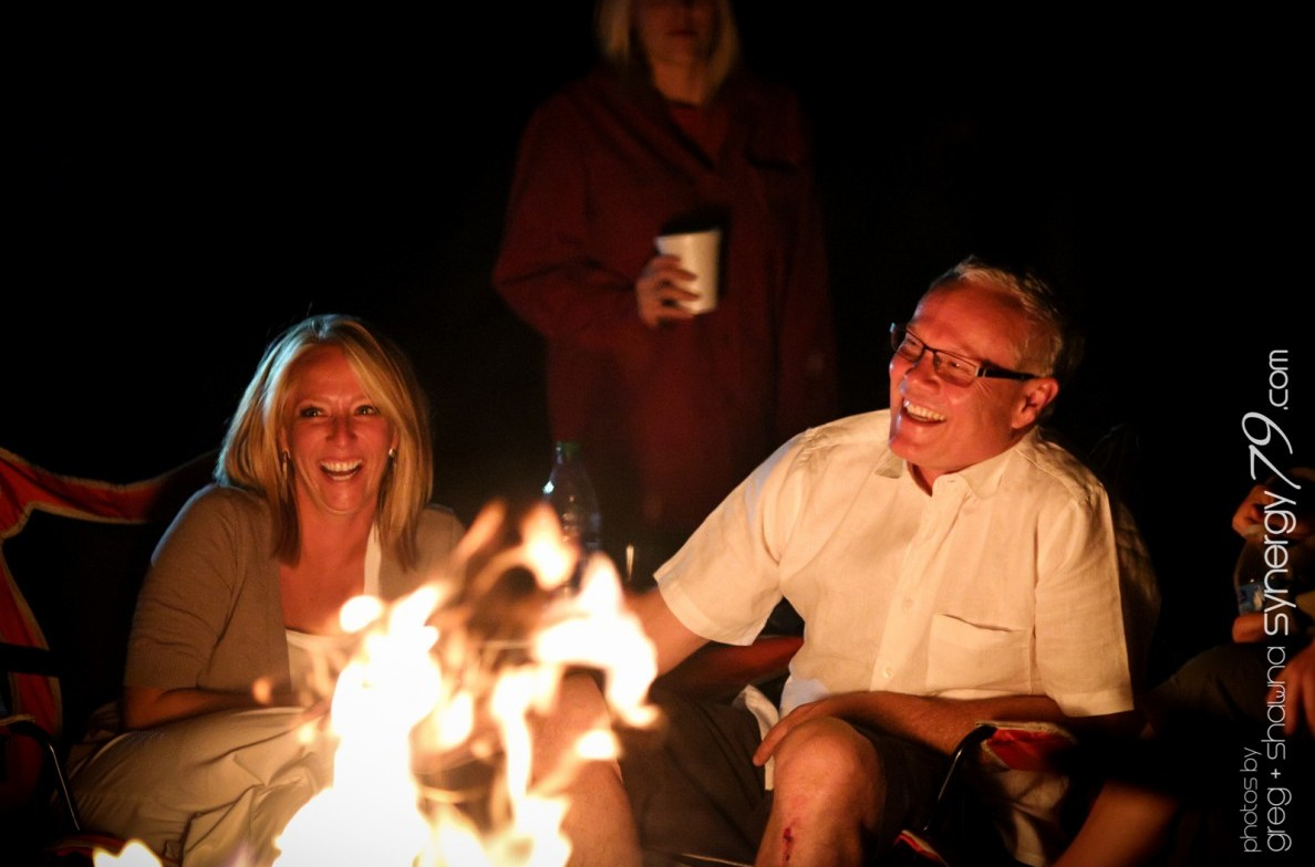 Bride and Groom in front of a firepit