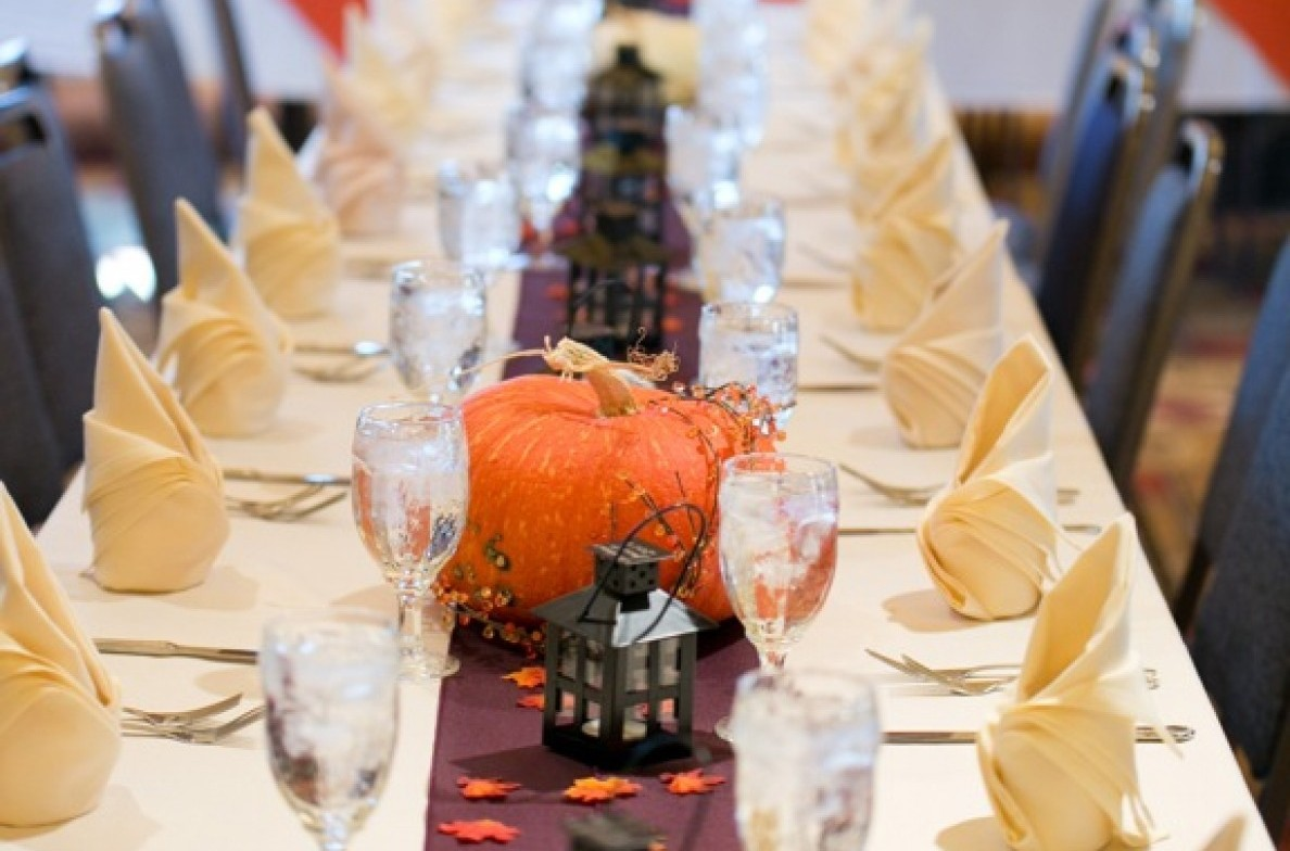 Banquet table ready for a fall wedding reception.
