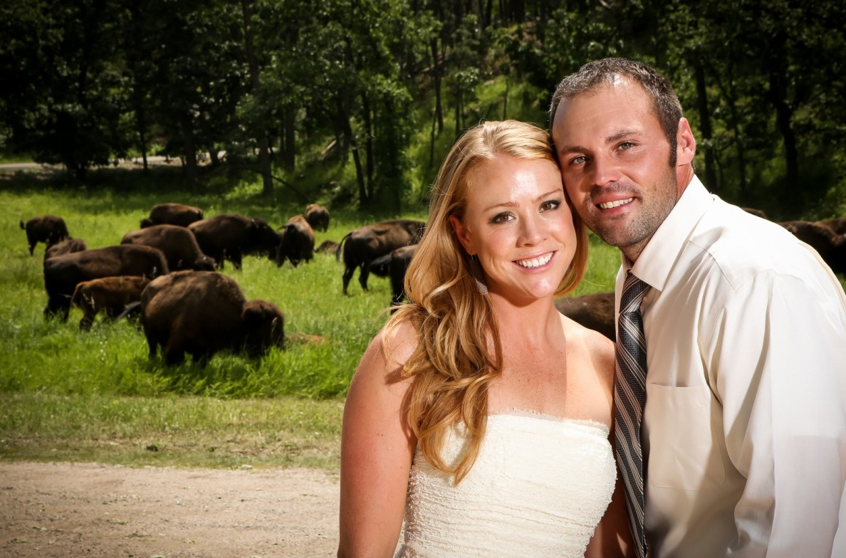 Bride and Groom with Buffalo behind them