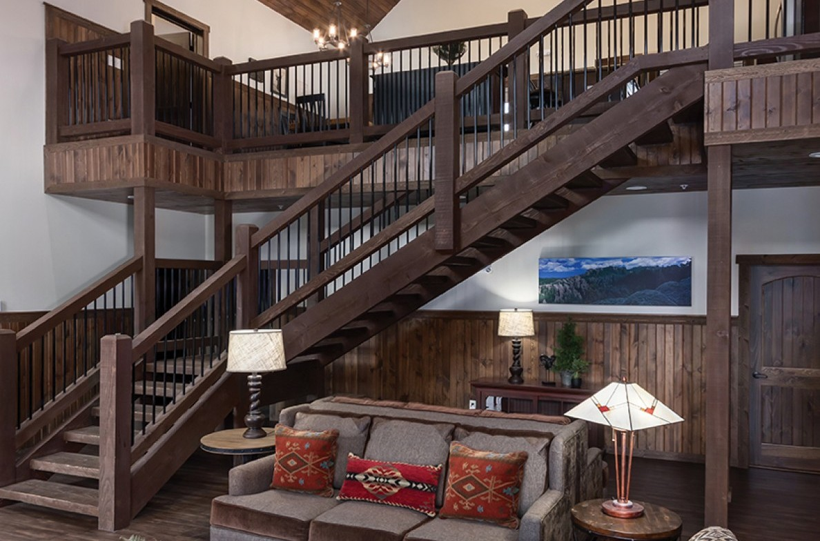 State Game Lodge Reunion Cabin Staircase