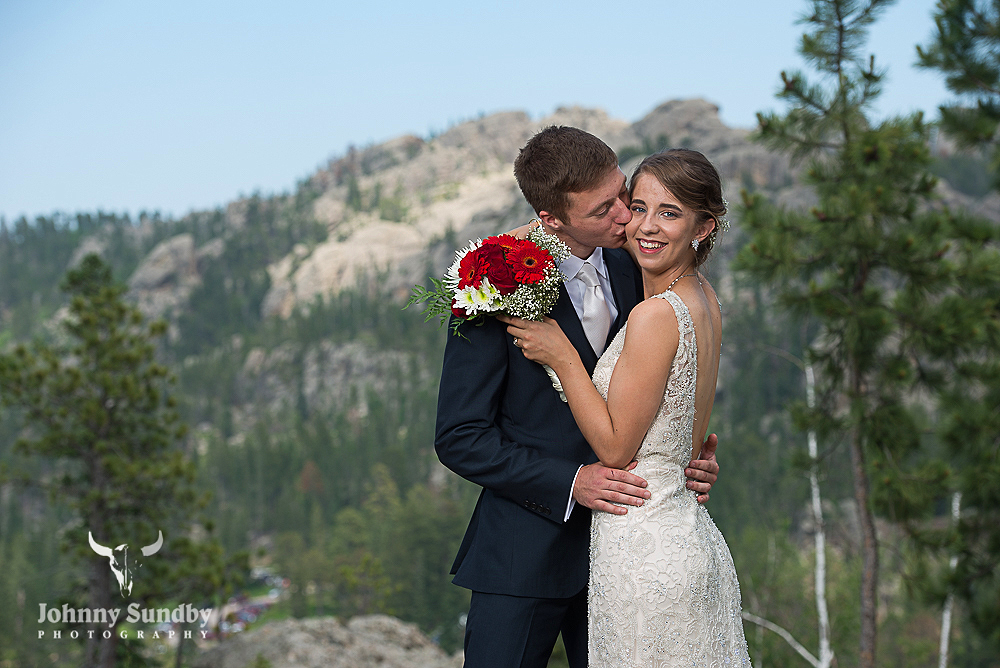 Bride and Groom with the Black Hills in the background
